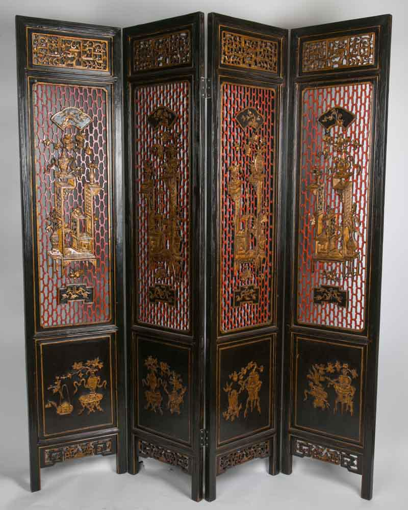 Antique Old Chinese Room Divider Asian Paravent Handcrafted Black-Gold