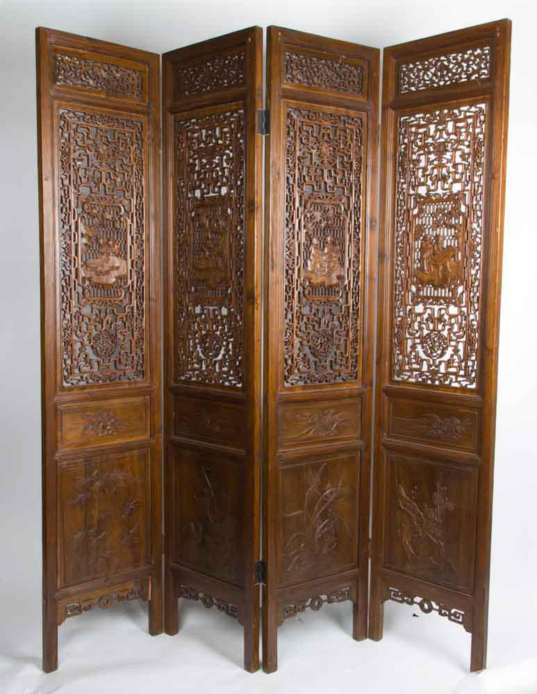 Antique Old Chinese Room Divider Asian Paravent Handcrafted Brown