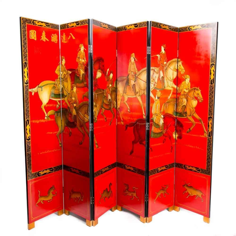 Chinese Room Divider Asian Paravent Handpainted Ba-da-you