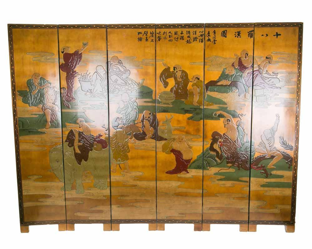 Chinese Room Divider Asian Paravent Handpainted 18 Arhat - 18 Luo Han