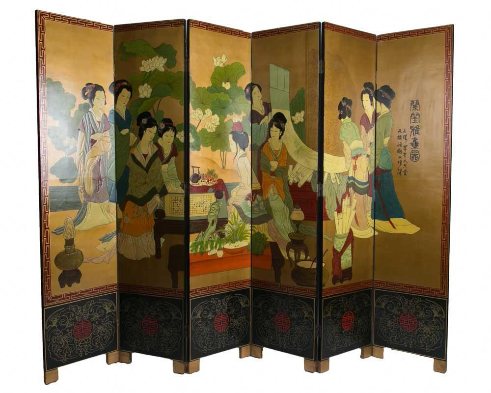 Chinese Room Divider Asian Paravent Handpainted Chinese Ladies