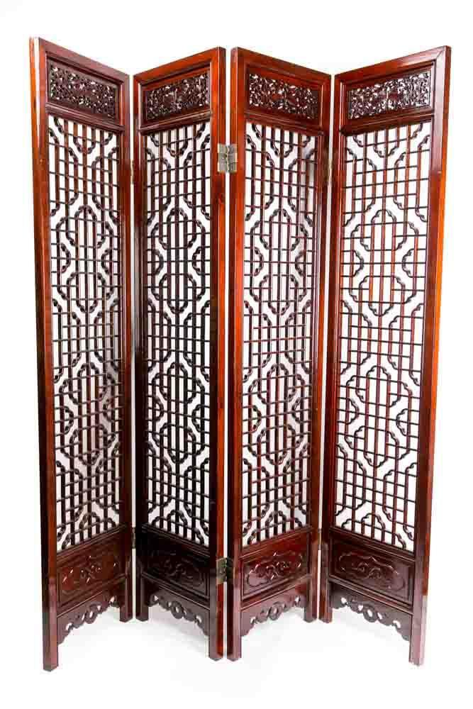 Chinese Room Divider Asian Paravent Handcrafted
