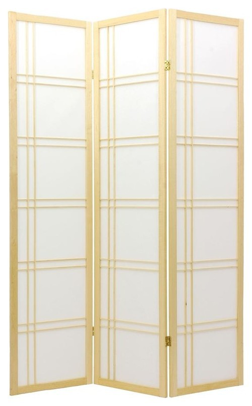 Japanese Room Divider Shoji Rice Paper 3 Panel Double Cross Natural