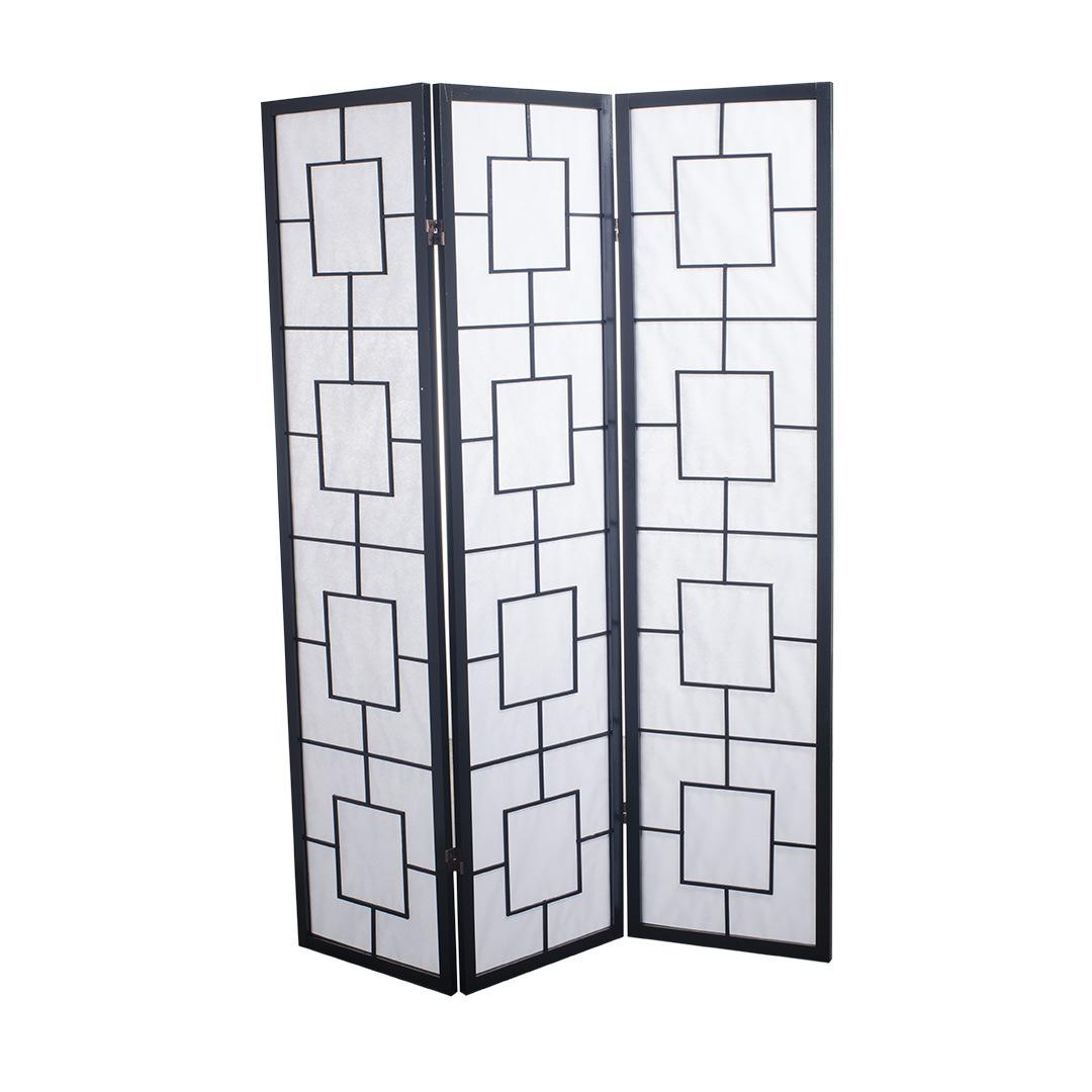 Japanese Room Divider Shoji Rice Paper 3 Panel Modern Black Fine Room Dividers