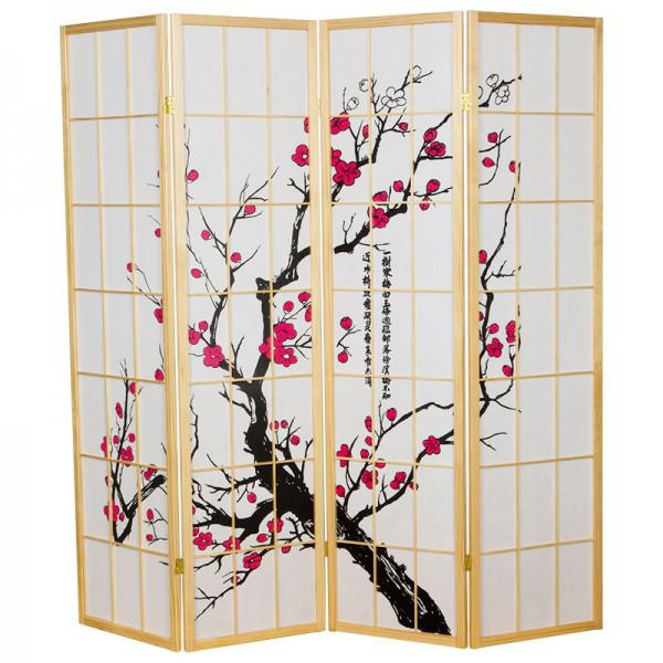 Japanese Room Divider Shoji Rice Paper 4 Panel Sakura Cherryblossom