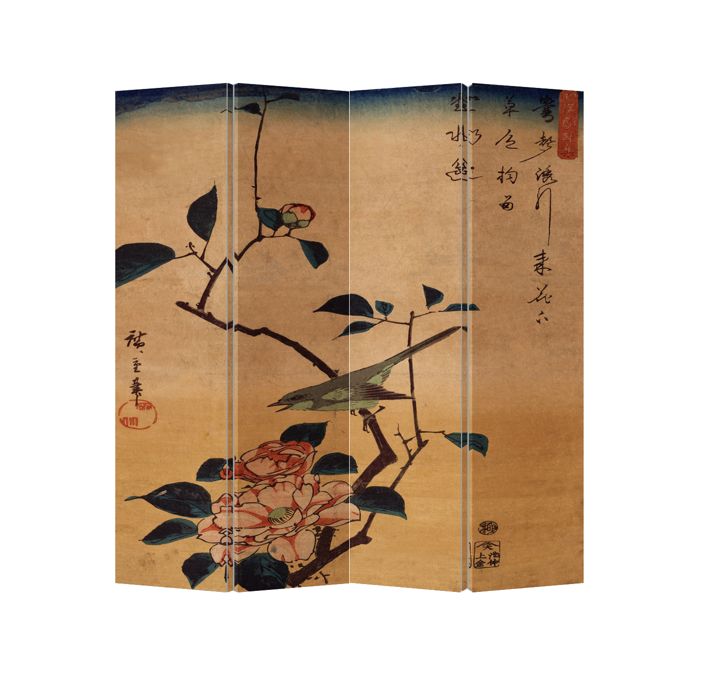 Oriental Room Divider Paravent 4 Panel Birds and Lotus Vintage