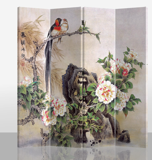 Oriental Room Divider Paravent 4 Panel Birds and Mudan Flowers