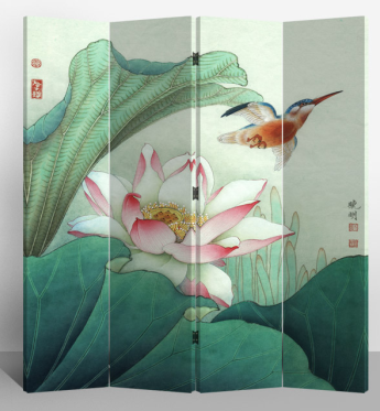 Oriental Room Divider Paravent 4 Panel Lotus and Flying Bird
