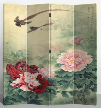 Oriental Room Divider Paravent 4 Panel Mudan and Flying Birds