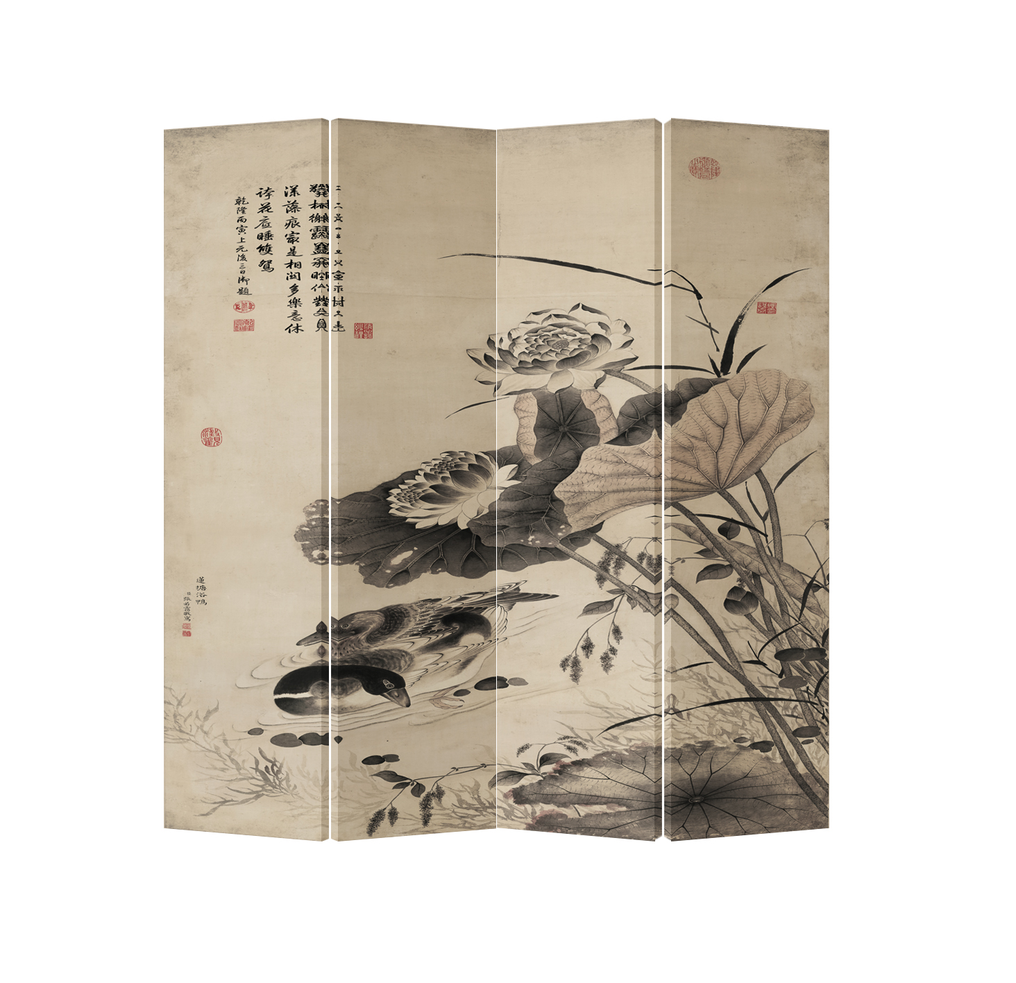 Oriental Room Divider Paravent 4 Panel Swans with Lotus