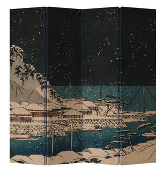 Oriental Room Divider Paravent 4 Panel Japanese Night Port
