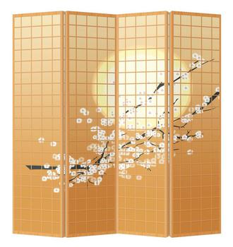 Oriental Room Divider Paravent 4 Panel Japanese Sakura Cherryblossoms White